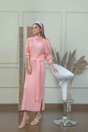 Pink Line Knitted Dress