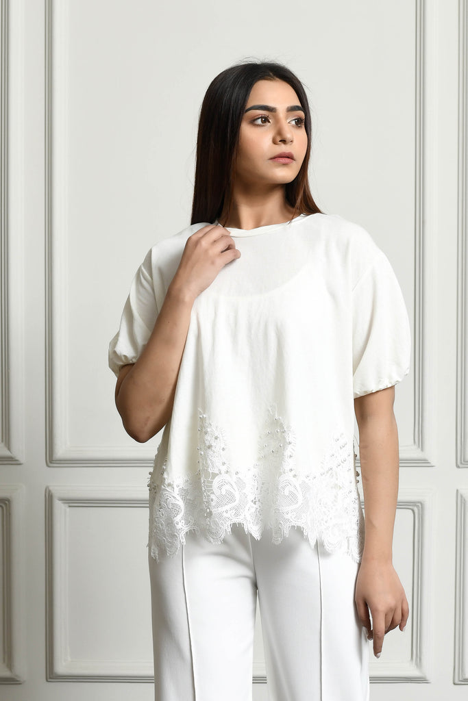 Lace and pearl edging blouse