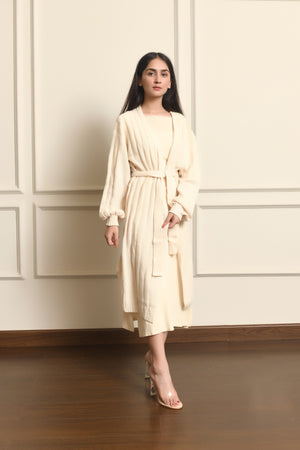 Long cardigan with belt