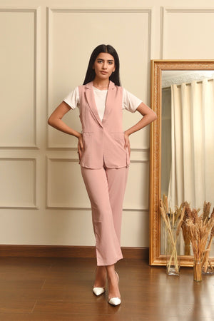 Pink  Sleeveless Suit