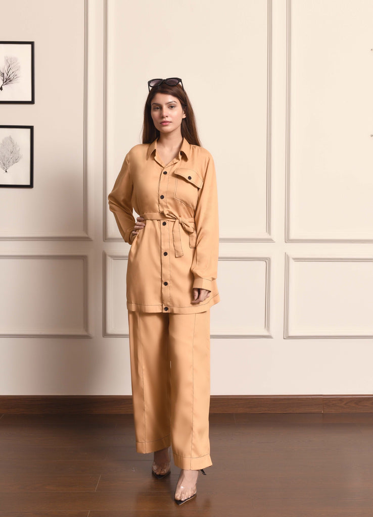 Contrast Stitch Suit with Belt