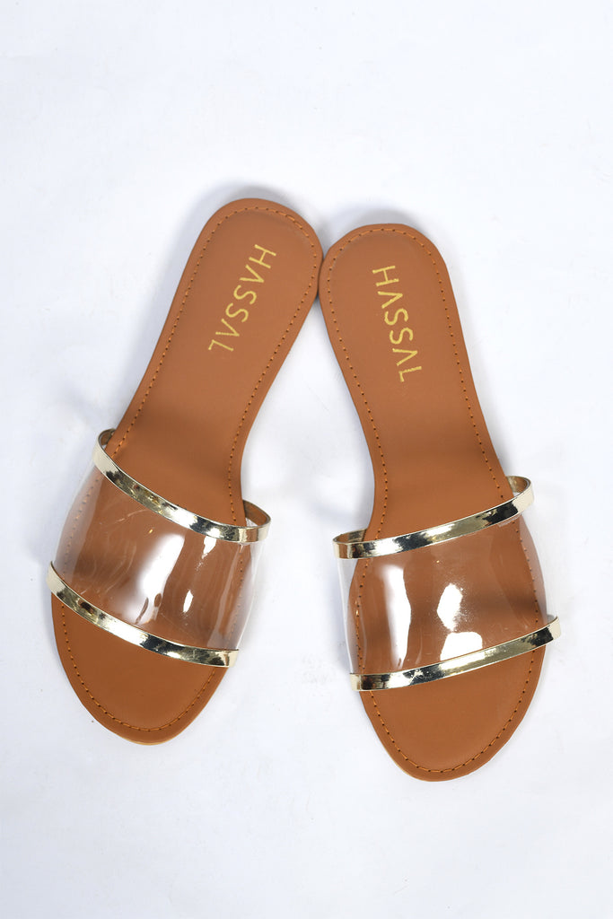 PVC Slides with Golden Rim
