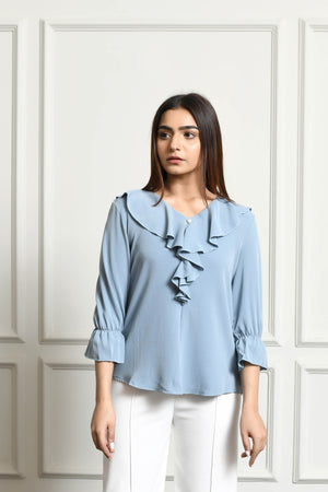 Frill Blouse With Pearl