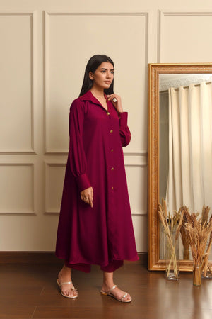 Kiren Maroon Dress with Culottes