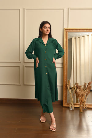 Kiren Green Dress with Culottes