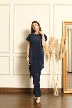 Eda Blue Pleated Set