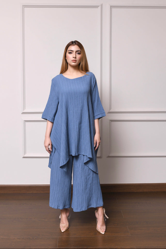 Rome pleated Blue Set