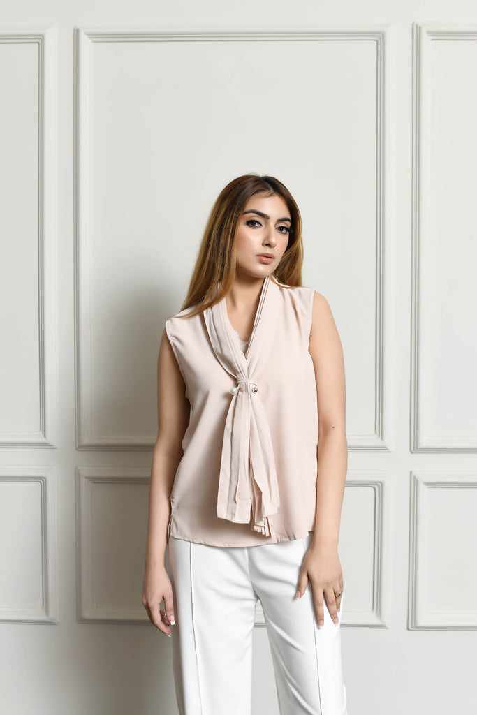 Aden Blouse with pleated neck tie
