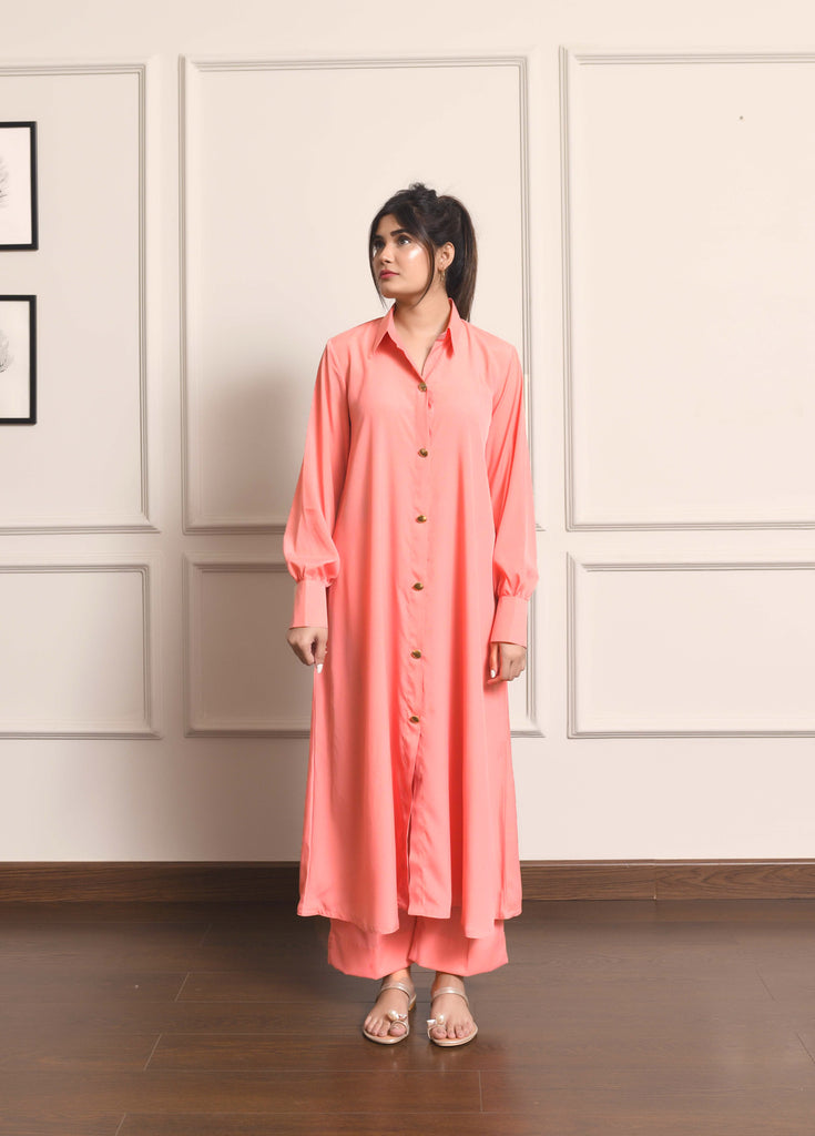 Kiren Peach Dress with Culottes