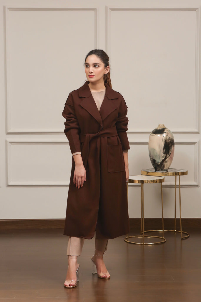 Brown Long Coat with Belt