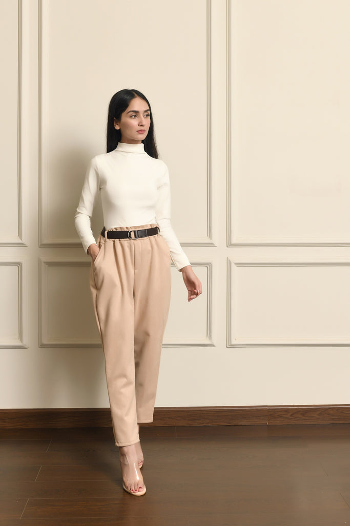 Suedette Textured Pant With Belt