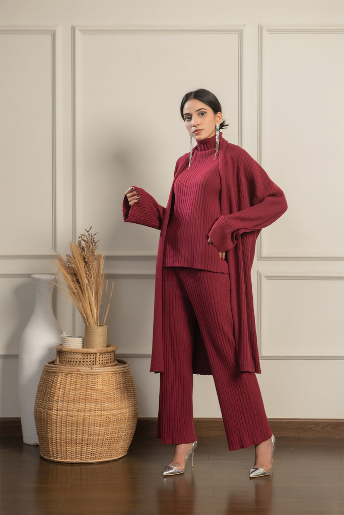 3 Piece Maroon Knit  Set