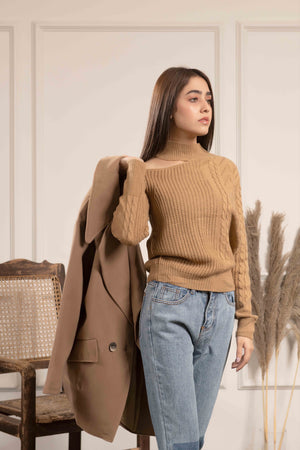 Cut out Beige Knit sweater