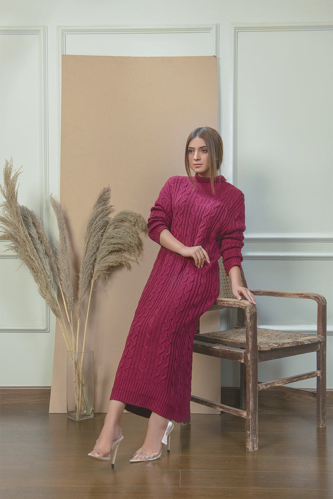 Classic Maroon Cable Knit Dress
