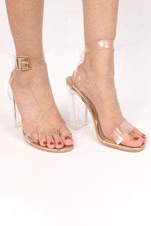 Pvc heels with ankle strap rose gold