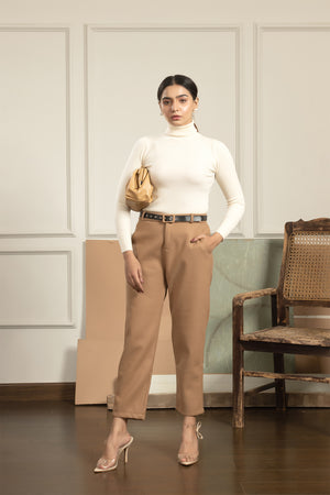 Yozu Brown Pant with Double sides Belt