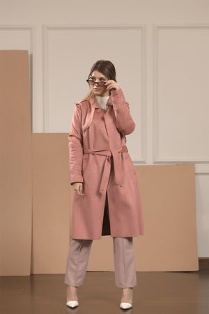 Adele Suedette Coat with Belt