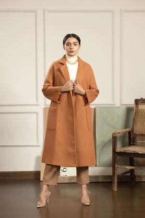 Haya Long Brown Coat with belt