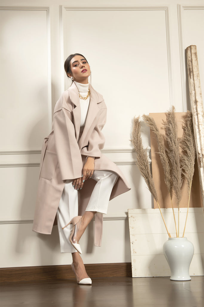 Madonna Apricot Long Coat with belt