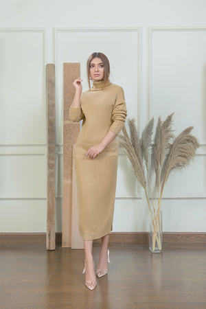 Khaki Long Knit Dress