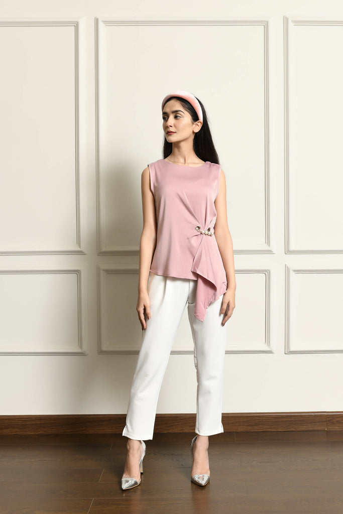 Vicky Blouse with Waist Knot & Pearls
