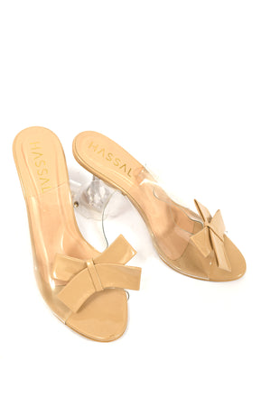 Bow Heels Light Beige Patent