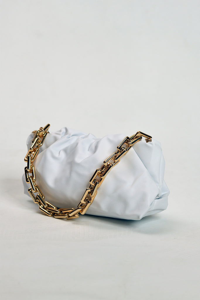 Marlyn White Pouch with Chain