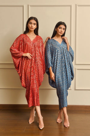 Zari Shimmer Pleated Kaftan