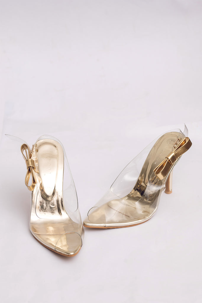 Pvc Golden Bow Heels