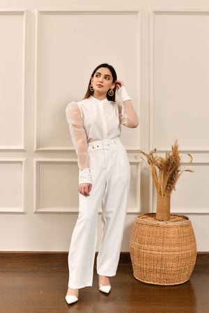 White High Waist Belted Pant