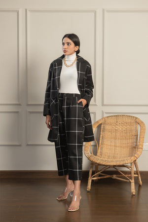 Black Checkered Coat Set