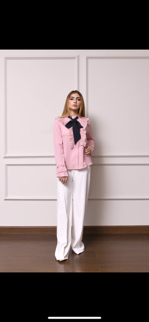Lia Ruffled neck blouse with bow tie