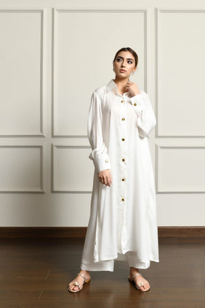Kiren White Dress with Culottes