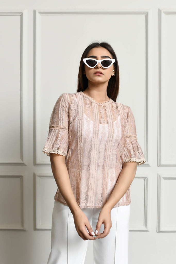 Striped lace net shirt