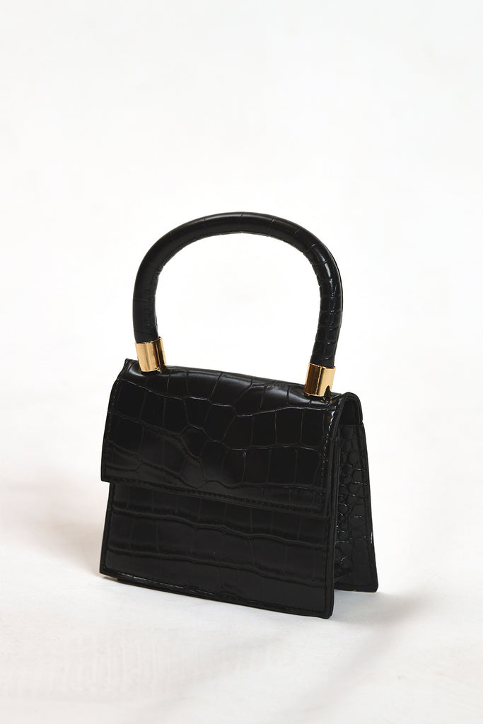 Black Snake Print Mini Bag