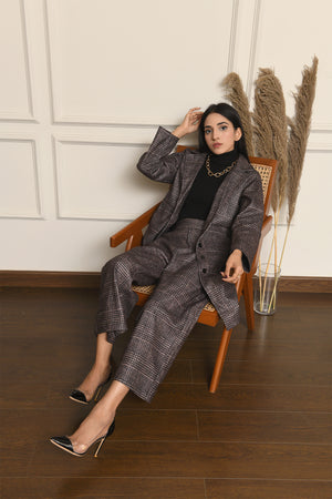 Ayla Houndstooth Coat Set