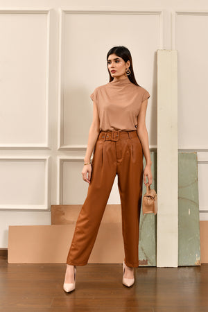 Brown High Waist Belted Pant