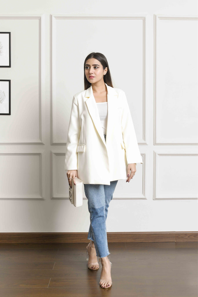 Kaia Off White Belted Blazer