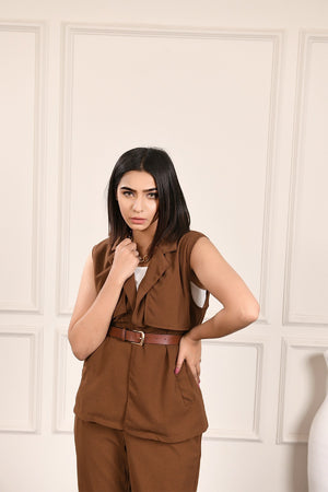 Dora Brown Sleeveless Set