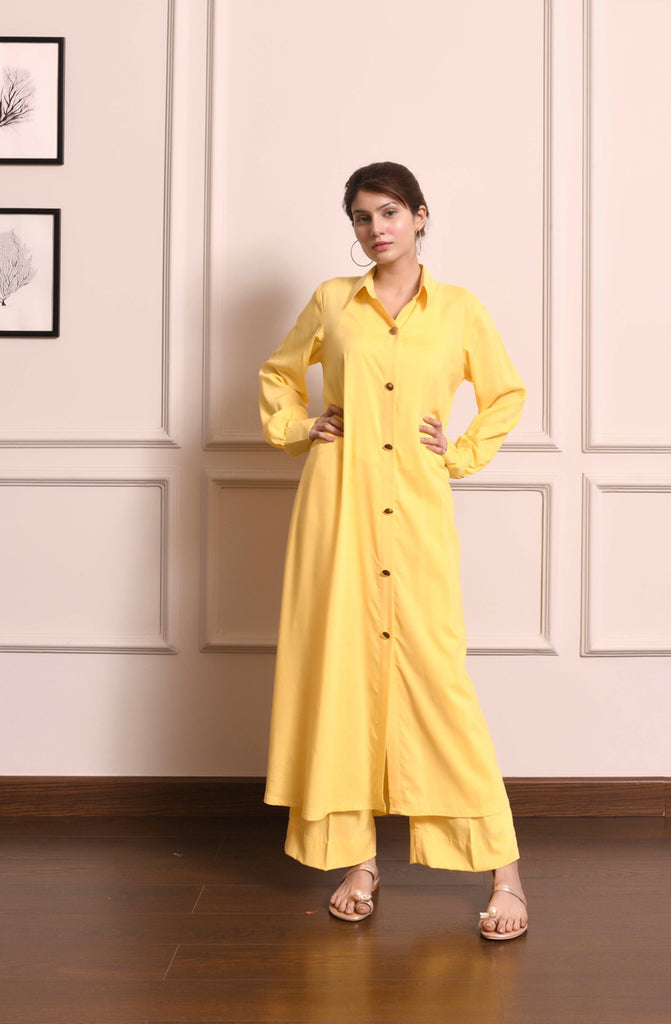 Kiren Yellow Dress with Culottes