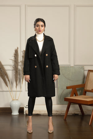 Aischa Black Coat with Gold buttons