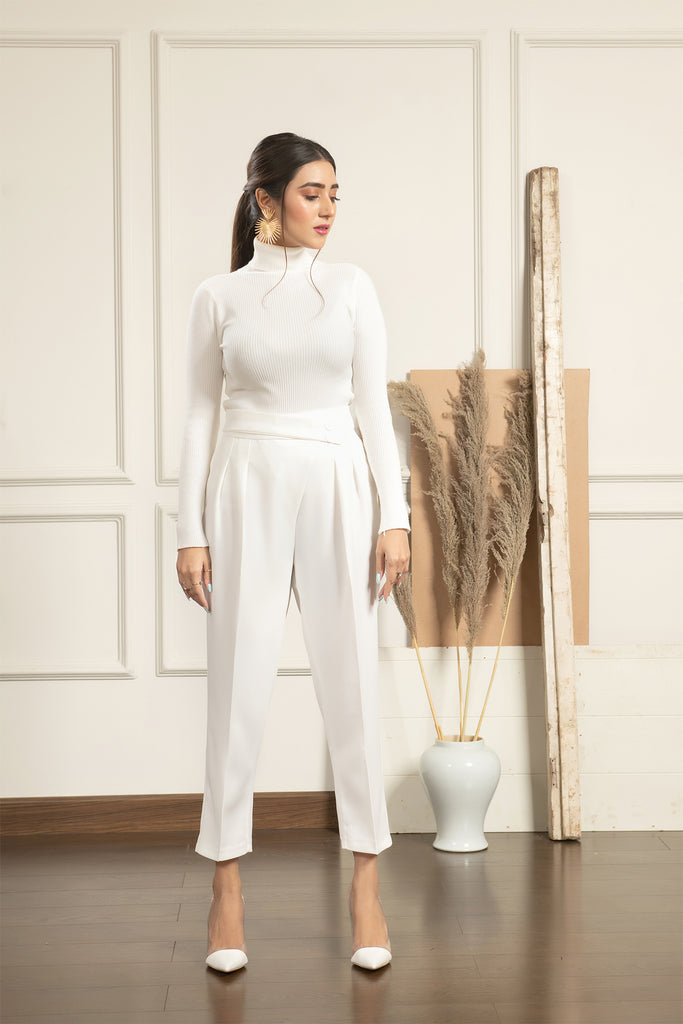 Rexy White high waist trouser