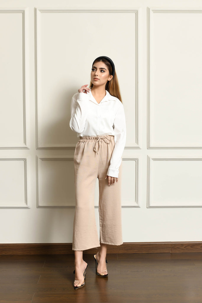 Linen Culottes with drawstring