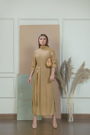 Khaki Line Knitted Dress