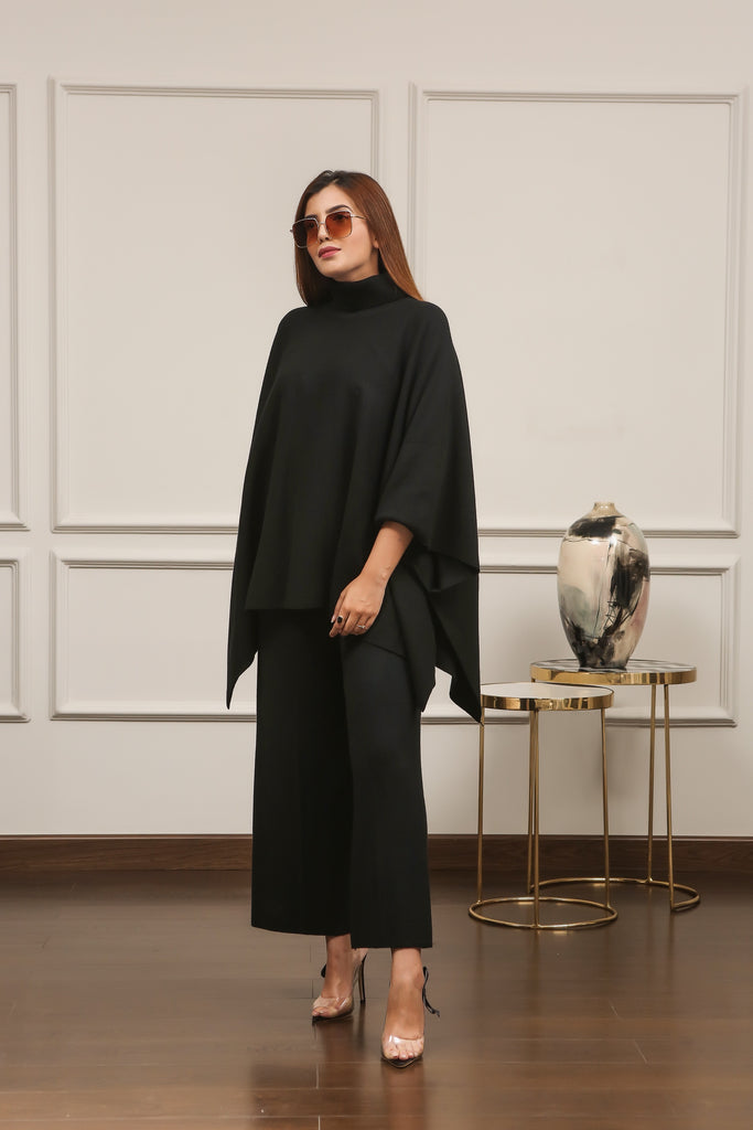 Lily Knitted Cape Black Separates