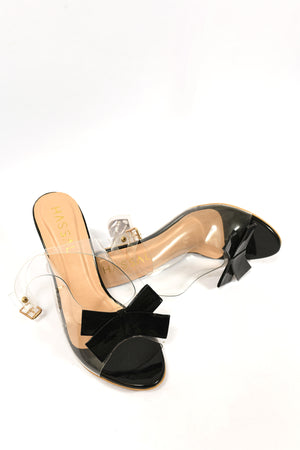 Bow Heels Black Patent