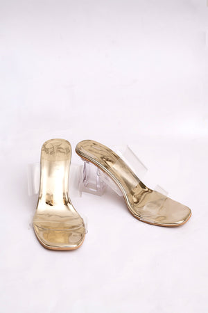 PVC Gold Double Strap Heels