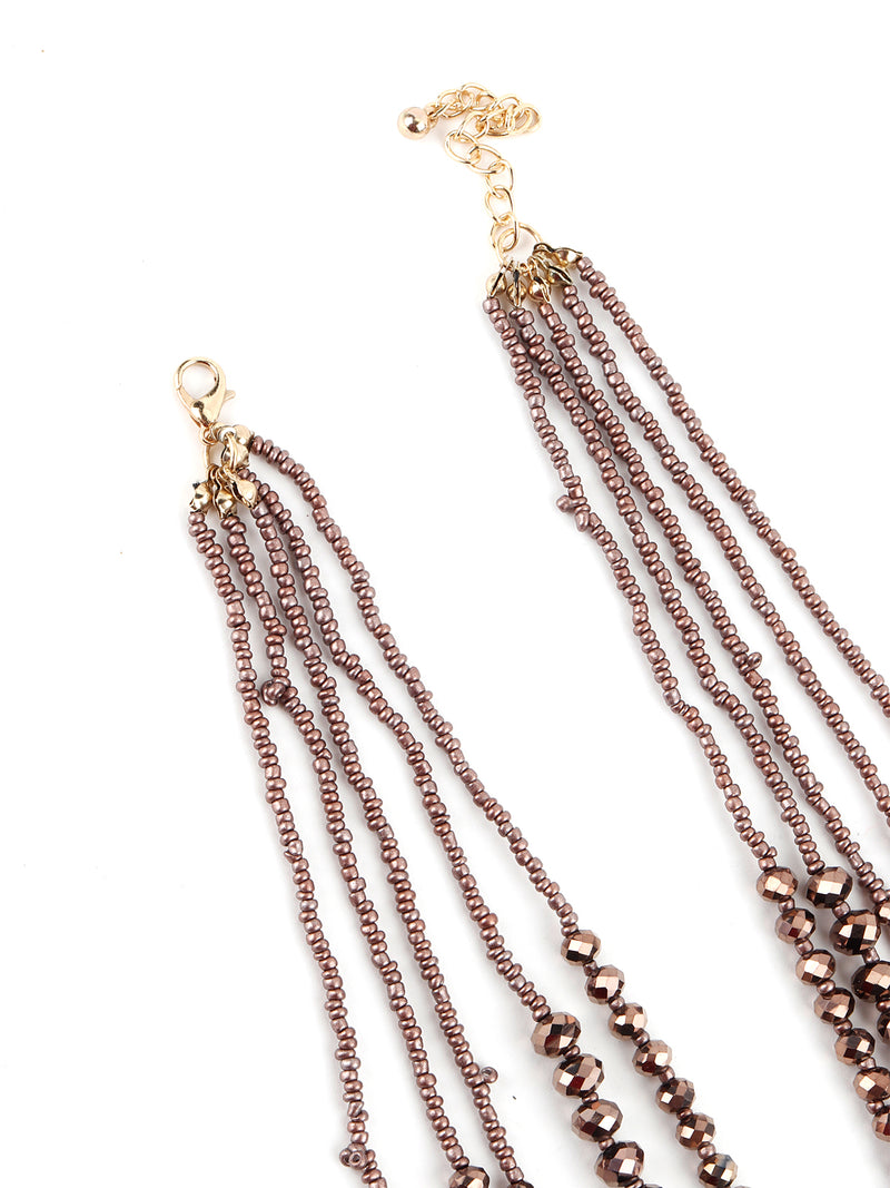 Long Brown Crystal Multi-Row Chain