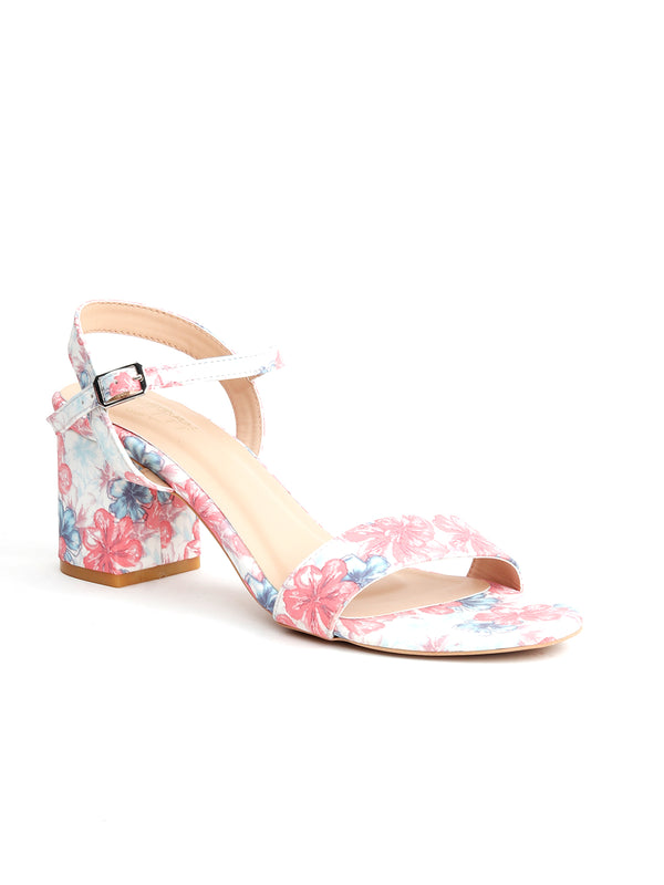 Pink Printed Styled Buckle Sandals