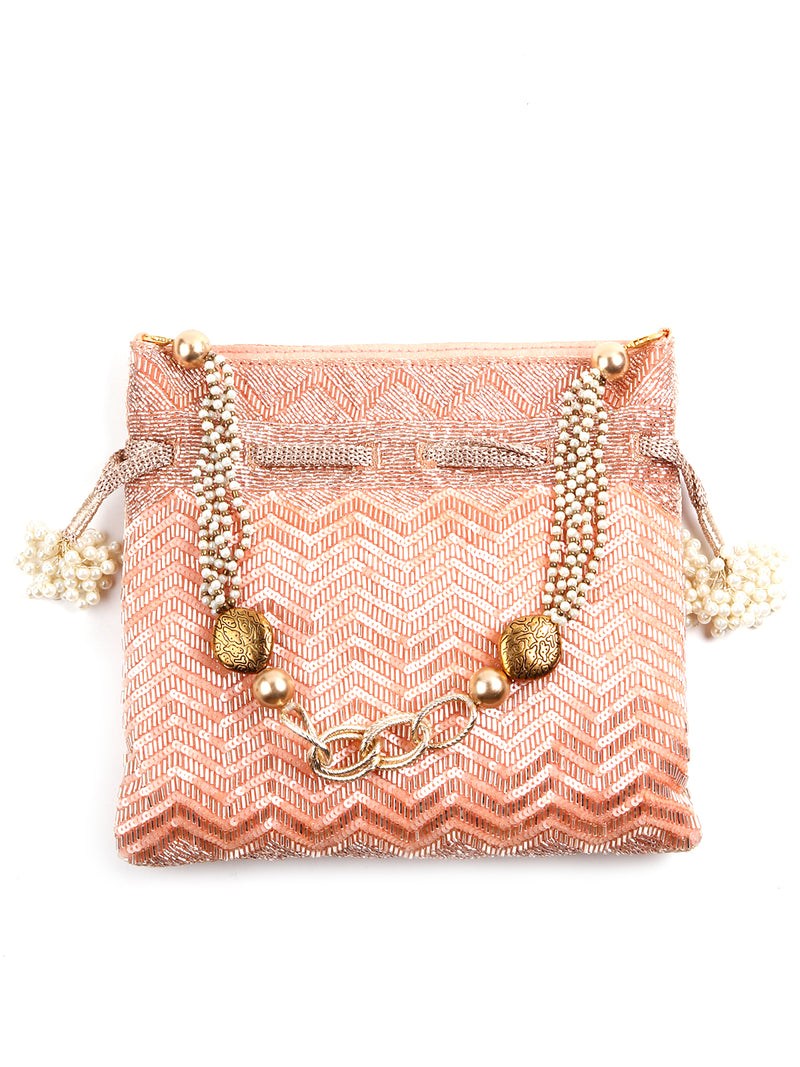 Peach Embellished Lovely Potli Bag